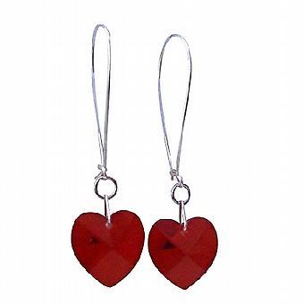 Siam czerwone serce Crystal Swarovski 14mm 92,5 Hoop kolczyki żyrandol