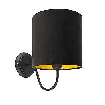 Lampe murale noire CLASSIQUE QAZQA avec ombre noire de vélor - Matt
