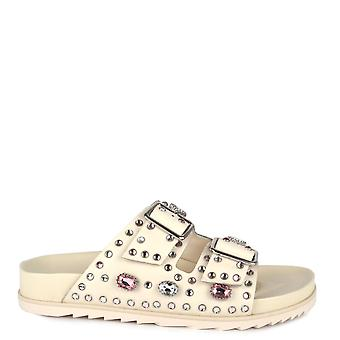 Ash URGE Buckle Sandals In White Leather & Gemstones