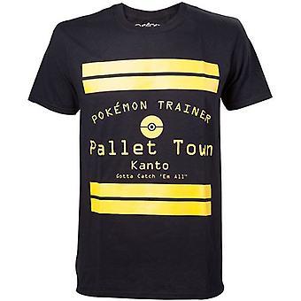 Pokemon Pallet Town Kanto Mens T-Shirt grote zwarte Model. TS408064POK-L