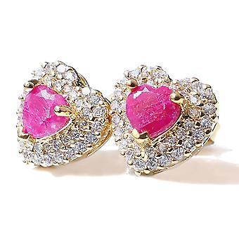 Ah! Joias brincos coração de rubi precioso genuíno