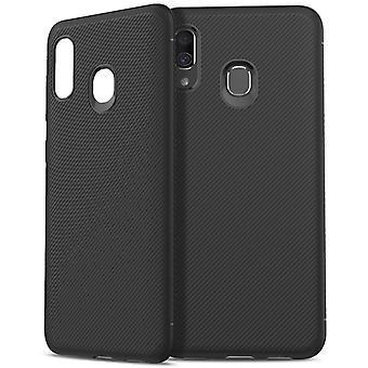 Samsung Galaxy A40 twill textuur TPU-shell-zwart
