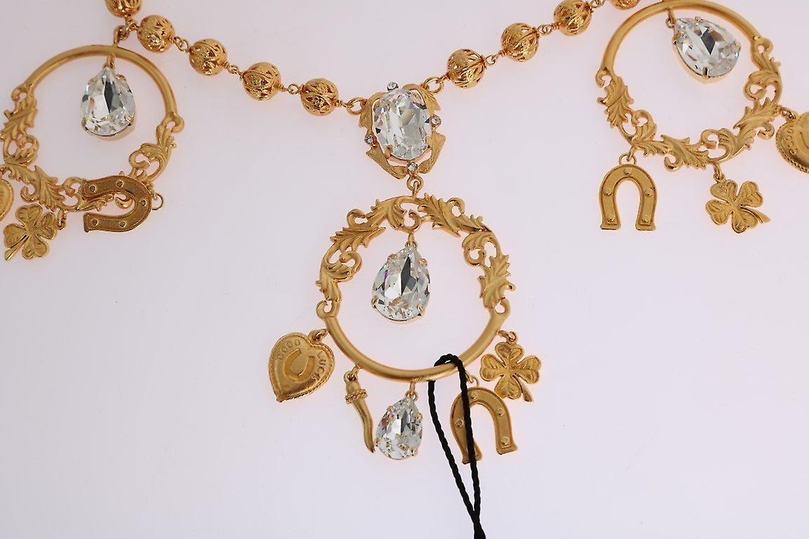 Gold brass clear crystal sicily charms necklace