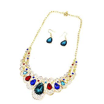 Ladies colourful style jewel statement & earring set swarovski crystal necklace