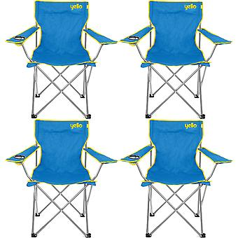4 Yello playa sillas plegables para Camping, pesca o playa - azul