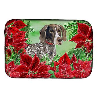 German Shorthaired Pointer Poinsettas Dish Drying Mat