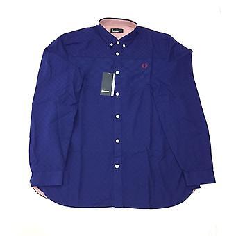 Fred Perry schackrutiga garn färgat mäns långärmad Shirt - M7238-458