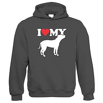 I Love My Staffordshire Bull Terrier Hoodie - Chiens Lui cadeau son anniversaire