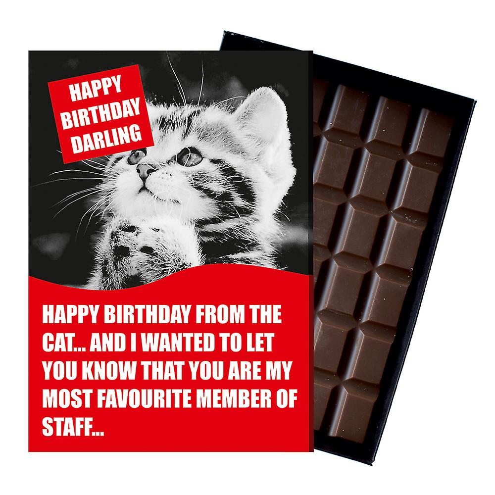 Funny Birthday Gift From The Cat Lover Rude boxed Chocolate Greeting Card Present CDL216