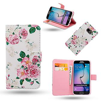 Samsung Galaxy S6 Edge case/wallet in leather-roses