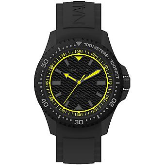 Nautica maui black Japanese Quartz Analog Man Watch with NAPMAU006 Silicone Bracelet