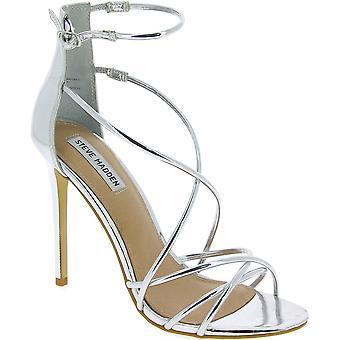 Steve Madden mulheres ' s cinta de tornozelo sandálias de salto alto em couro sintético prata