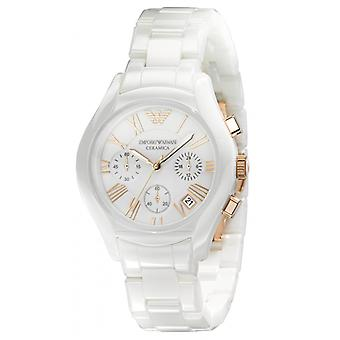 Armani Ar1417 Chronograph White Ceramic Ladies Watch