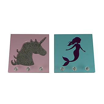 Pink and Blue Cutout Unicorn and Mermaid Sequin Wall Hook Plaques 2 Piece Set
