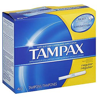Tampax tampons with anti-slip grip cardboard applicator, regular, 40 ea