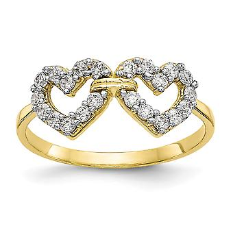 10k Yellow Gold Solid Polished Open back Double Love Heart CZ Cubic Zirconia Simulated Diamond Ring Jewelry Gifts for Wo