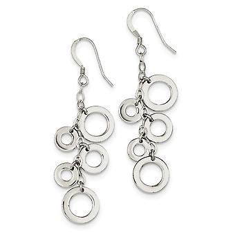 925 plata esterlina Dangle pulido pastor gancho multi círculo gota pendientes joyería regalos para las mujeres