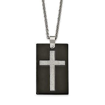Roestvrij staal gepolijst zwart keramiek CZ Cubic Zirconia Gesimuleerde Diamond Religieuze Geloof Kruis Ketting 24 Inch Sieraden