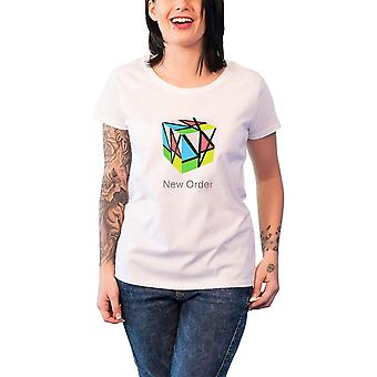 New Order T Shirt band logo new Official Womens Skinny Fit White