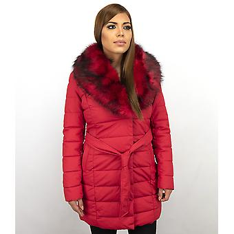Long Parka Winter Coat - With Red Faux Fur Collar - Red