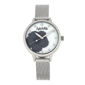 Sophie and Freda Raleigh Mother-Of-Pearl Bracelet Watch w/Swarovski Crystals - Grey