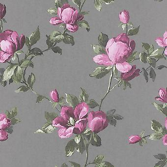 Emilia Rose Floral Wallpaper Silver and Pink Rasch 502169