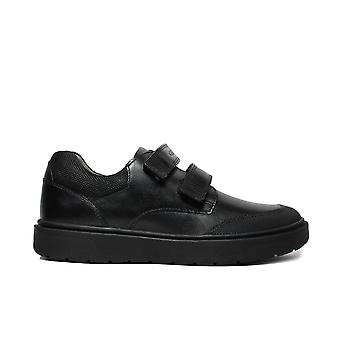 Geox Riddock J847SF Black Leather Boys Rip Tape School Shoes