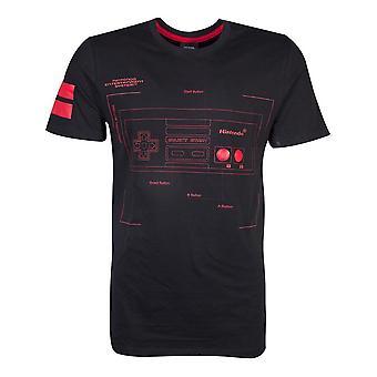 Nintendo NES Controller Super Power T-Shirt Maschio Medio Nero/Rosso TS644124NTN-M