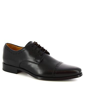 Leonardo Shoes Men's handmade dress lace-ups derby shoes black calf leather