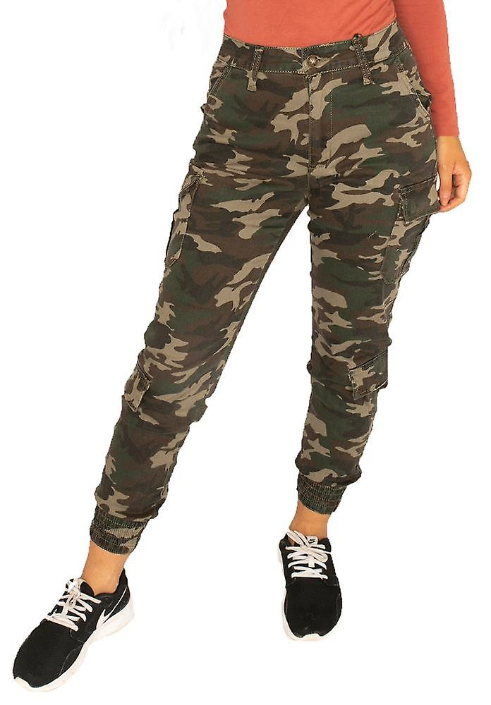 High Rise Dark Camouflage Cuffed Cargo Pants Utility Trousers