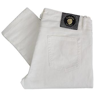 Versace Slim Fit Gold Badge White Jeans