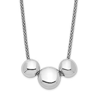 925 εξαιρετικό ασημένιο ρόδιο επιμεταλλωμένα 3 χάντρες με 5εκ. ext. κολιέ 16 ιντσών δώρα κοσμήματα για τις γυναίκες