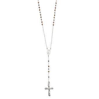 925 Sterling Sølv Gul Rose og 3mm fasettert rosenkrans halskjede uten vårlås 26 tommers smykker gaver til kvinner