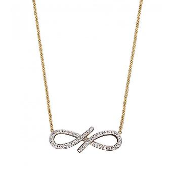 Joshua James Precious 9ct Yellow Gold & Diamond Pave Infinity Necklace