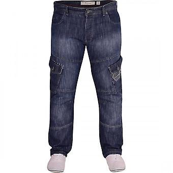 Crosshatch CROSSHATCH Mens Designer Heavy Duty Multi Pocket Cargo Combat Denim Jeans