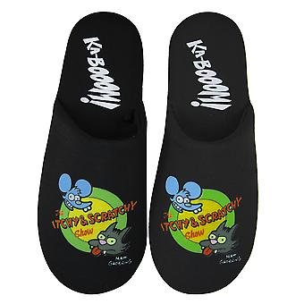 The Simpsons Itchy and Scratchy Show Men's Black Logo Slippers