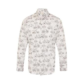 JSS Bike Print White Regular Fit 100% Cotton Shirt