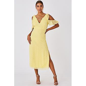 Lemon Cold Shoulder Strappy Detail Dress