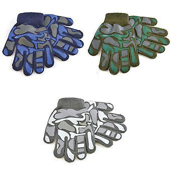 子供男の子迷彩デザイン ウィンター マジック手袋