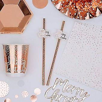 Merry Christmas Rose Gold Paper Straws - Partyware X 10