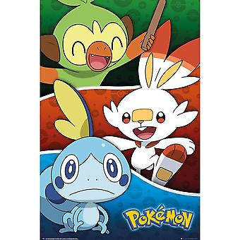 Pokemon Galar Starter Pokemon Poster