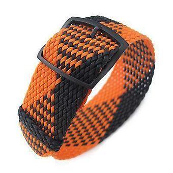 ストラップコードファブリックウォッチストラップ20、22mmミルタットパーロンウォッチストラップ、ブラック&オレンジ、pvdブラックラダーロックスライダーバックル