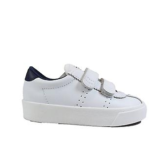 Superga S1112YW Sport Club White/Navy Leather Childrens Rip Tape Trainers