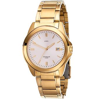 JOBO men's wristwatch quartz analog stainless steel gold plated date mens watch