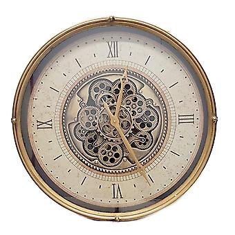 Round 60cm Compass moving cogs wall clock - Gold