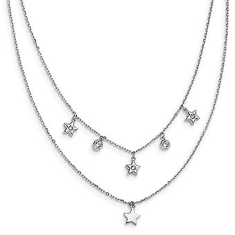 925 Sterling Silver Rhodium Plated CZ Cubic Zirconia Simulated Diamond Layered Stars With 2inch Ext. Necklace 15 Inch