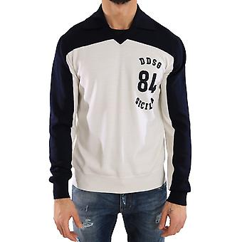 Dolce & Gabbana Blue White Wool Crewneck Pullover Sweater -- TSH1568944