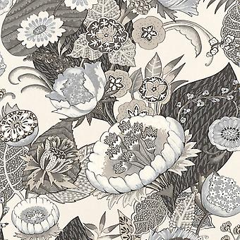 Lucy in the Sky Floral Print Wallpaper Charcoal Rasch 803617