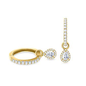 Earrings Hoops Pear 18K Gold and Diamonds - Yellow Gold