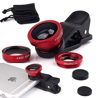 Wiko Y80 (Red) Universal Clip Lens 3 in 1 Kit